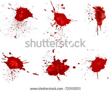 Blood stains isolated on white - stock photo