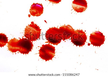 blood stains on a white background - stock photo