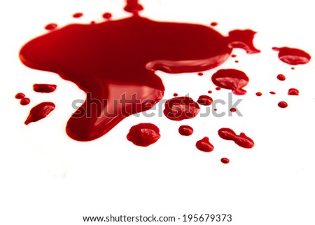 Blood stains (puddle) isolated on white background close up, horizontal - stock photo