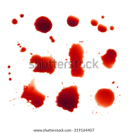 Blood stains set on a white background - stock photo