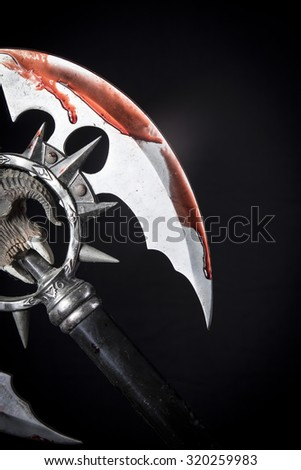bloody ax - stock photo