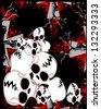 Bloody cross with skulls. Raster - stock photo