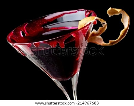 Bloody Halloween cocktail, close up - stock photo