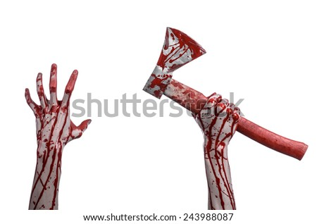 Bloody Halloween theme: bloody hand holding a bloody butcher's ax isolated on white background in studio - stock photo