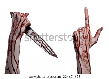 bloody hand holding a knife, a large bloody knife, bloody theme, a killer with a knife, halloween theme, white background, isolated, violence, suicide, murder, a thug, a butcher - stock photo