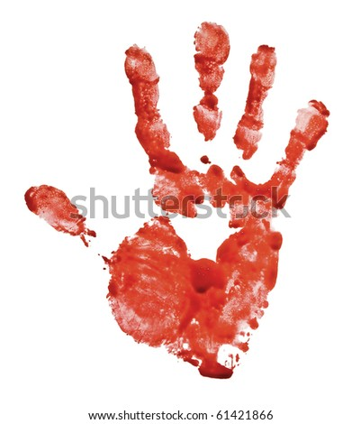 Bloody hand-print isolated on white - stock photo