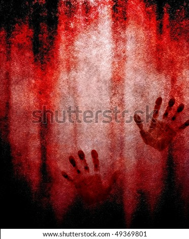 bloody hand print on wall - stock photo