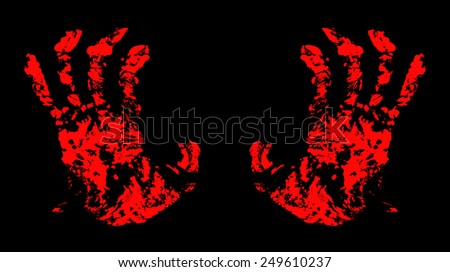 Bloody Hand Trace for your design. - stock photo