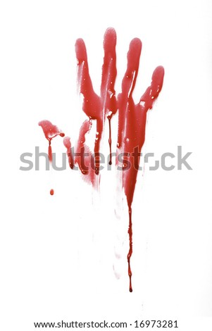 Bloody handprint with drip pattern isolated on a white background - stock photo