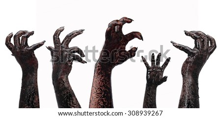 Bloody hands on a white background, zombie, demon, maniac, isolated on terror,halloween theme - stock photo