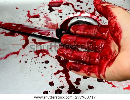Bloody knife and hand in sink with flowing red blood. Murder concept background - stock photo