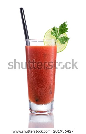 Bloody Mary cocktails, isolated on white - stock photo