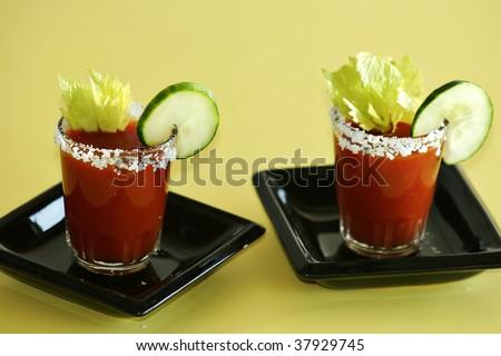 Bloody Mary Shooters - stock photo