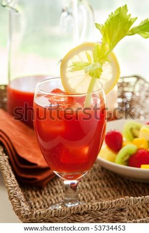 Bloody mary with fruit - stock photo