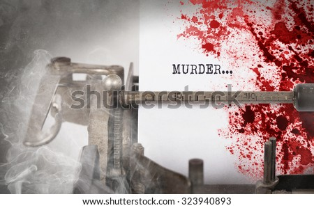 Bloody note - Vintage inscription made by old typewriter, Murder - stock photo