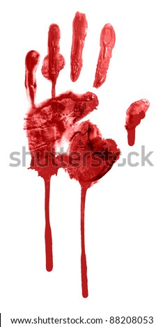 bloody print of a hand and fingers - stock photo