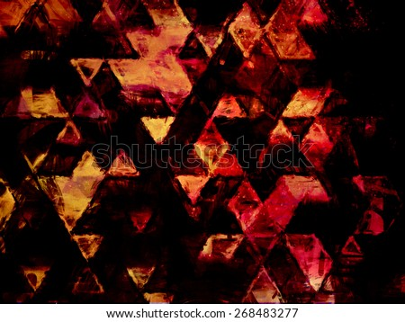 bloody red space triangles, sketchy drawing, abstract design, diamond elements, cone, geometry grunge, background or wallpaper texture, brushed, hand drawing, space, futuristic cosmic style, symbols  - stock photo