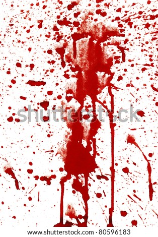 Bloody splashes on white background - stock photo