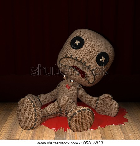 Bloody Voodoo Doll: a voodoo doll lays bleeding after being stabbed in the heart with a couple of pins. - stock photo
