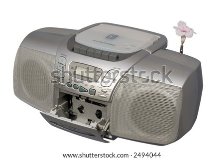 Blooming Boombox; isolated, clipping path included - stock photo