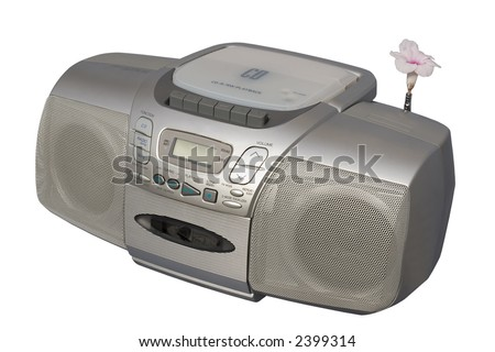 Blooming Flower as Boombox Antenna; isolated, clipping path included - stock photo