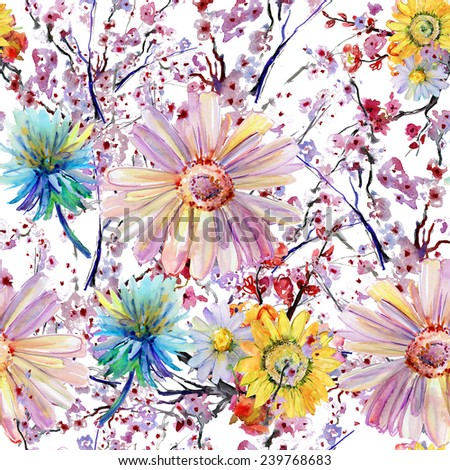 Blooming pink flowers. Seamless vintage floral pattern. Watercolor retro design on white background - stock photo