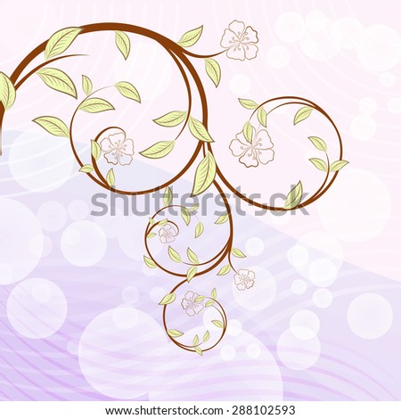 Blooming tree branch with flowers illustration. - stock photo