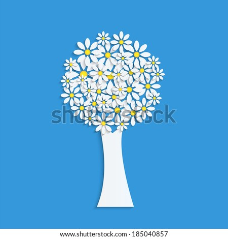 Blossoming tree on blue background - stock photo