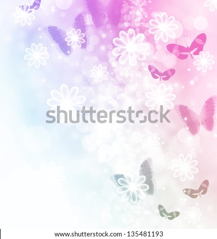 Blossoms and butterflies pastel illustration - stock photo