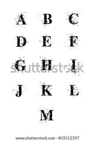 Blot Font letters A to M. A black serif font with ink splatters.  - stock photo