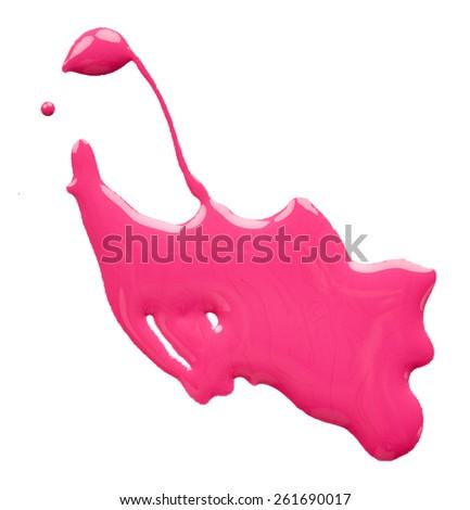 Blot of pink nail polish isolated on white background - stock photo