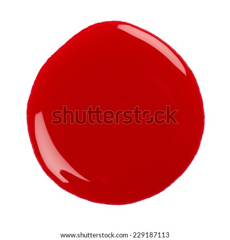 Blot of red nail polish isolated on white background - stock photo