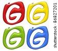 blot paint letter G - alphabet symbol isolated on a white background - stock photo
