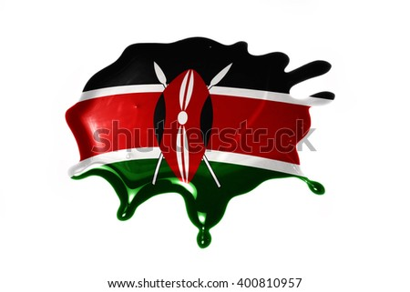 blot with national flag of kenya on the white background.3D illustration - stock photo