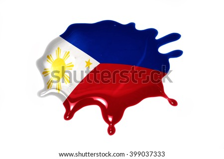 blot with national flag of philippines on the white background - stock photo