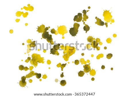 Blot with splashes and drops of watercolor painted isolated on white background. - stock photo