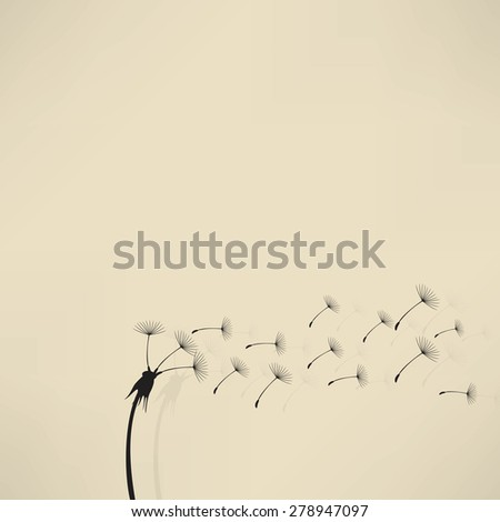 blowing dandelion vector - stock photo