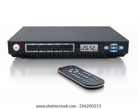 Blu-ray player with closed disc tray and remote controller - stock photo