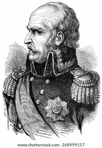 Blucher, vintage engraved illustration. History of France 1885. - stock photo