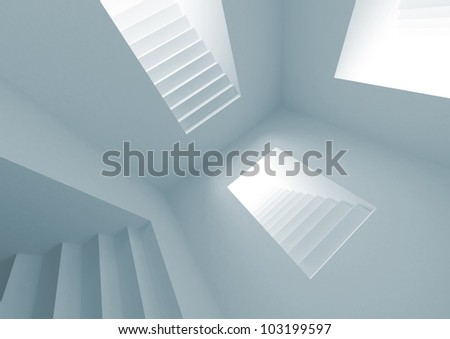 Blue abstract architecture interior with lighting stairway portals - stock photo
