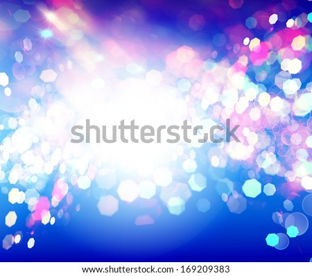 Blue Abstract Backdrop with Lights.Party Night.Holiday. - stock photo