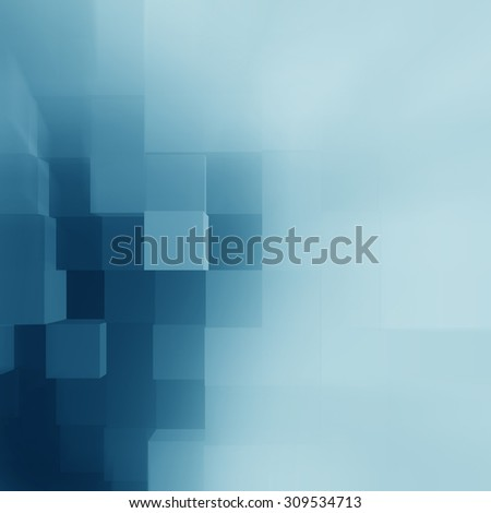 blue abstract background cubes pattern as corporate brochure cover template - stock photo