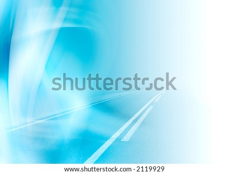 blue abstract composition with road perspective - stock photo