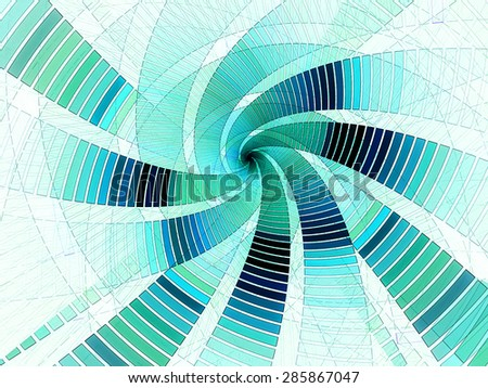 blue abstract fantasy swirl from lines background - stock photo