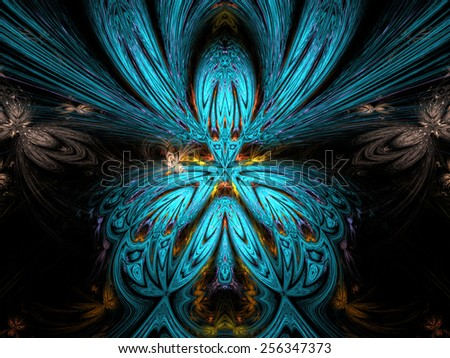 blue abstract fractal fantasy background with light rays - stock photo
