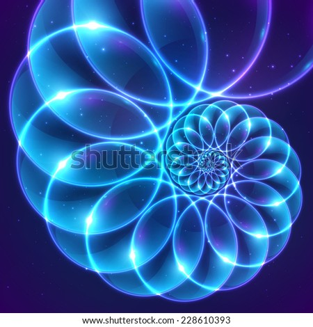 Blue abstract fractal shining cosmic spiral - stock photo