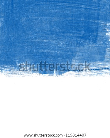 Blue abstract hand painted background texture - stock photo
