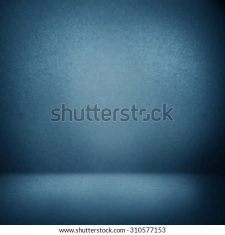 blue abstract interior background suede paper texture, empty photo studio room wall and floor - stock photo