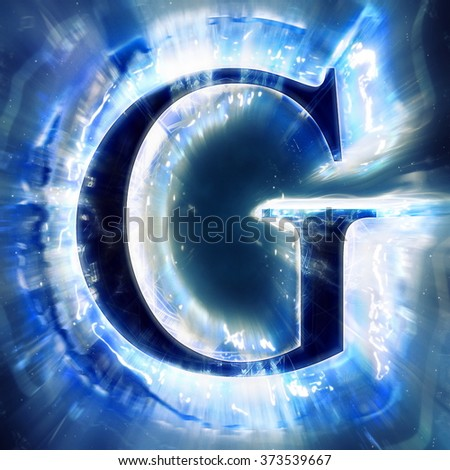 Blue Abstract Letter G - stock photo