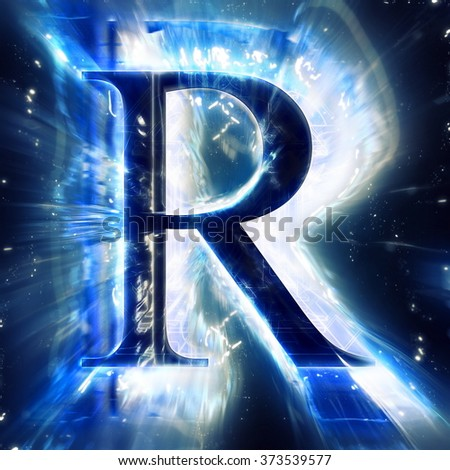 Blue Abstract Letter R - stock photo